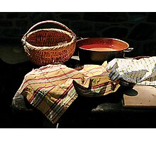 Basket and Pot of Soup Photographic Print