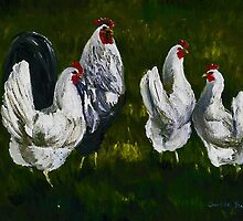 Roooster and Hens by Charlotte Yealey