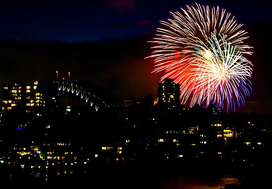 Sydney Harbour Fireworks - New Years Eve  by Bryan Freeman