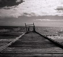 Elwood Beach Jetty Decay (Black & White) by Timothy Chew
