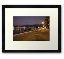 The quay in the evening in Sitia, Crete, Greece Framed Print