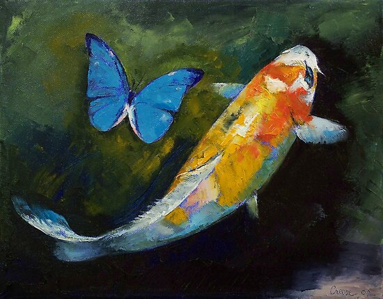 Kujaku Koi and Butterfly by Michael Creese