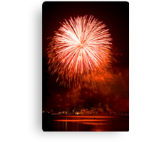 Red Light At Night - Sydney Harbour - New Years Eve - Midnight Fireworks  Canvas Print