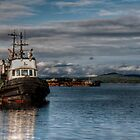 Tug Boat at the Dock by Rick Ruppenthal