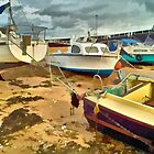 Boats on Broadstairs Beach at Low Tide by tallview