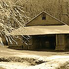 Old Lumber Barn in Winter by Monte Morton