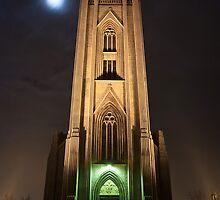 Landakot church, Iceland at newyears night by Gísli  F