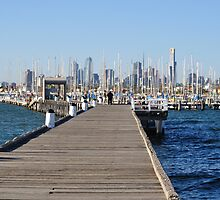 A PIER AT MELBOURNE THROUGH THE MARINA by luv2takepics