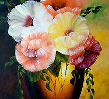 Poppies - A Vase of Colorful Poppies by henrytheartist
