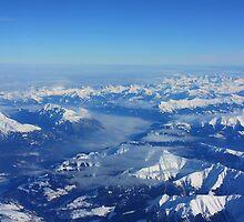 Swiss Alps with Fog. Aerial View Flying  from Milan to Frankfurt. 2010 by Igor Pozdnyakov