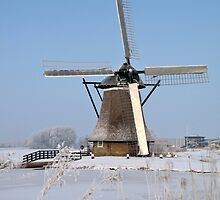 A WINTERS WINDMILL by Johan  Nijenhuis