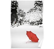 Umbrella in the Snow Poster