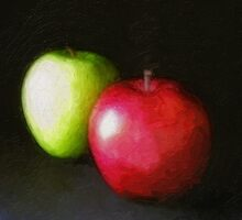 Red and Green Apples 2 Painterly by Christopher Johnson