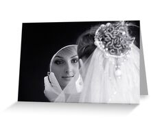 Beautiful young bride looking in the mirror Greeting Card