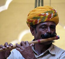 Portrait of a Traditional Rajisthani Flute Player by deepictography