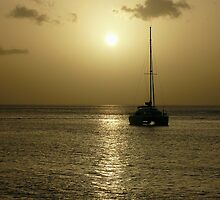 Boat at Sunset - Martinique, FWI by Olivia Son
