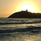 Sun setting behind Criccieth Castle by NoItsMyBubble