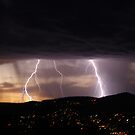 Lightning over Hobart by CezB
