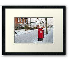 Snowy Letterbox in Idmiston Road, West Norwood, London. Framed Print