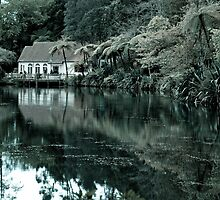 Peaceful lake with an old hut by yurix