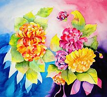Mums - A Colorful Bouquet by henrytheartist