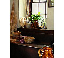 Basket and Plant by Window Photographic Print