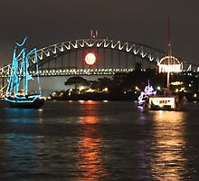 Sydney Harbour Bridge with colourful boats by jellybean123