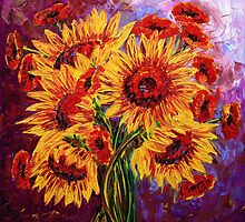 Sunflowers & Poppies by Abstract D'Oyley