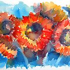 Red and Orange Sunflowers by Yevgenia Watts