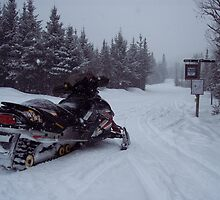 Snowmobile and Trail by neview