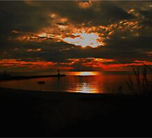 Lake Michigan Sunset Silhouette by Shelly Harris