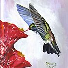 Art Print of Hummingbird and Cactus Painting by dorcas13