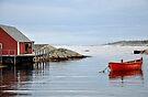 Red Boat - Peggy's Cove Nova Scotia by Barbara Burkhardt