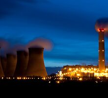 Cottam Power Station at Night by Steve Foster