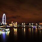 London Eye Night Landscape by pixeljar