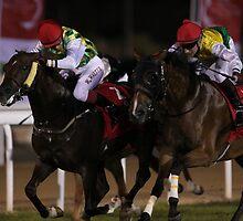 Horse Racing at night by Jo McGowan