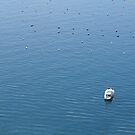 Top view of power boat in a sea by smrcek