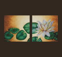 Water Lily on Gold background diptych by leilazarus