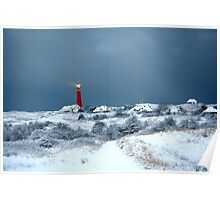 Lighthouse in the snow Poster