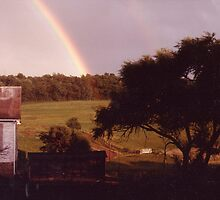 Double rainbow over the Wolfe Family Sheep Farm by Liz Wolfe