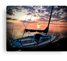 Florida Sailboat Sunset with a Paint Application Canvas Print