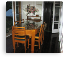 Qld Maple dining table and chairs. Canvas Print