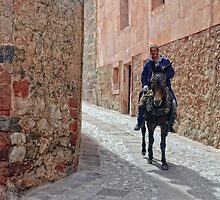Man and Mule, Albarracin, Aragon, Spain by Andrew Jones