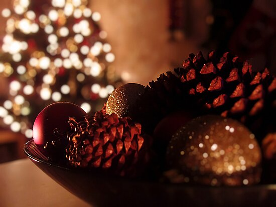 Pine cones, glitter and lights by Doug Sim