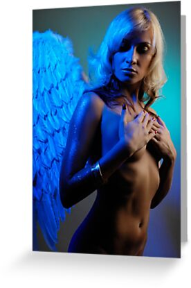 Young woman with angel wings by ArtNudePhotos