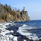 Icey view of Split Rock Light House by pshootermike