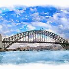 Sydney Harbour Bridge, Digital Watercolor painting by Shamus Macca