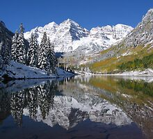 """Morning Sun on Midnight Snow, Maroon Bells, Colorado"" by Nyakaya"