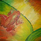 Frogggy on a prettty leafy  by Anne koufos