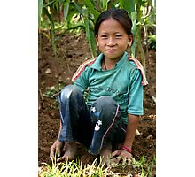 young girl working in the corn fields, Everest foothills Photographic Print